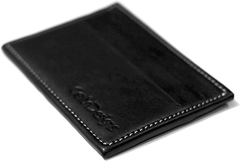 Carbon Fiber and Full Grain Leather Slim Front Pocket Wallet RFID Blocking