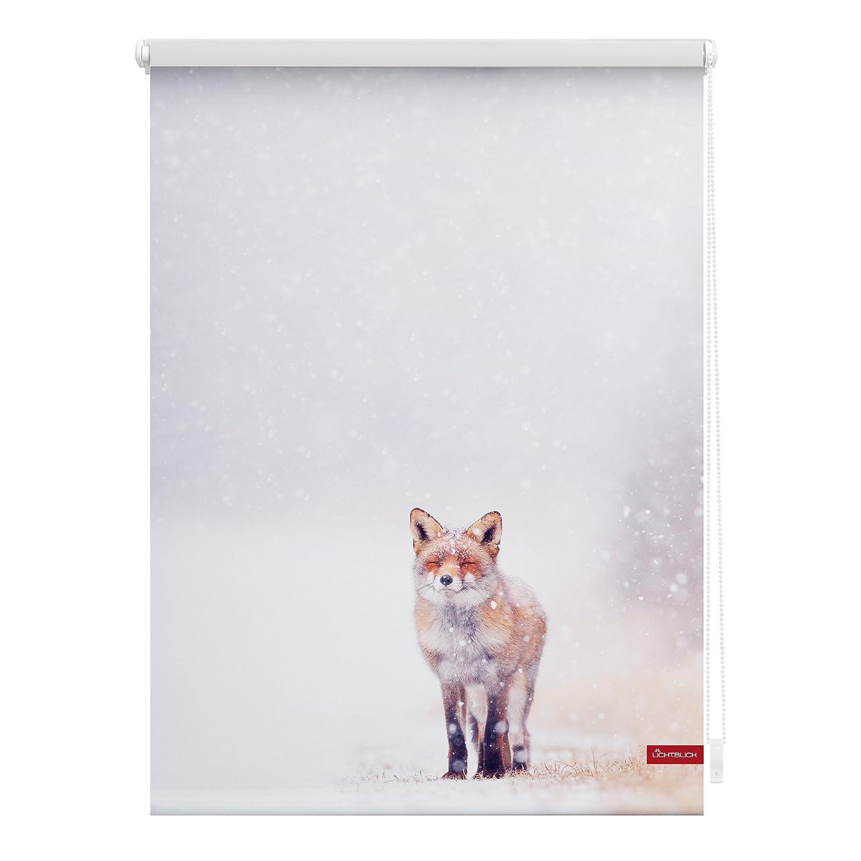 Lichtblick KRT.120.150.374 Rollo Klemmfix, ohne Bohren, blickdicht, Fuchs im Schnee - Weiß Rot Weiß 120 x 150 cm (B x L)