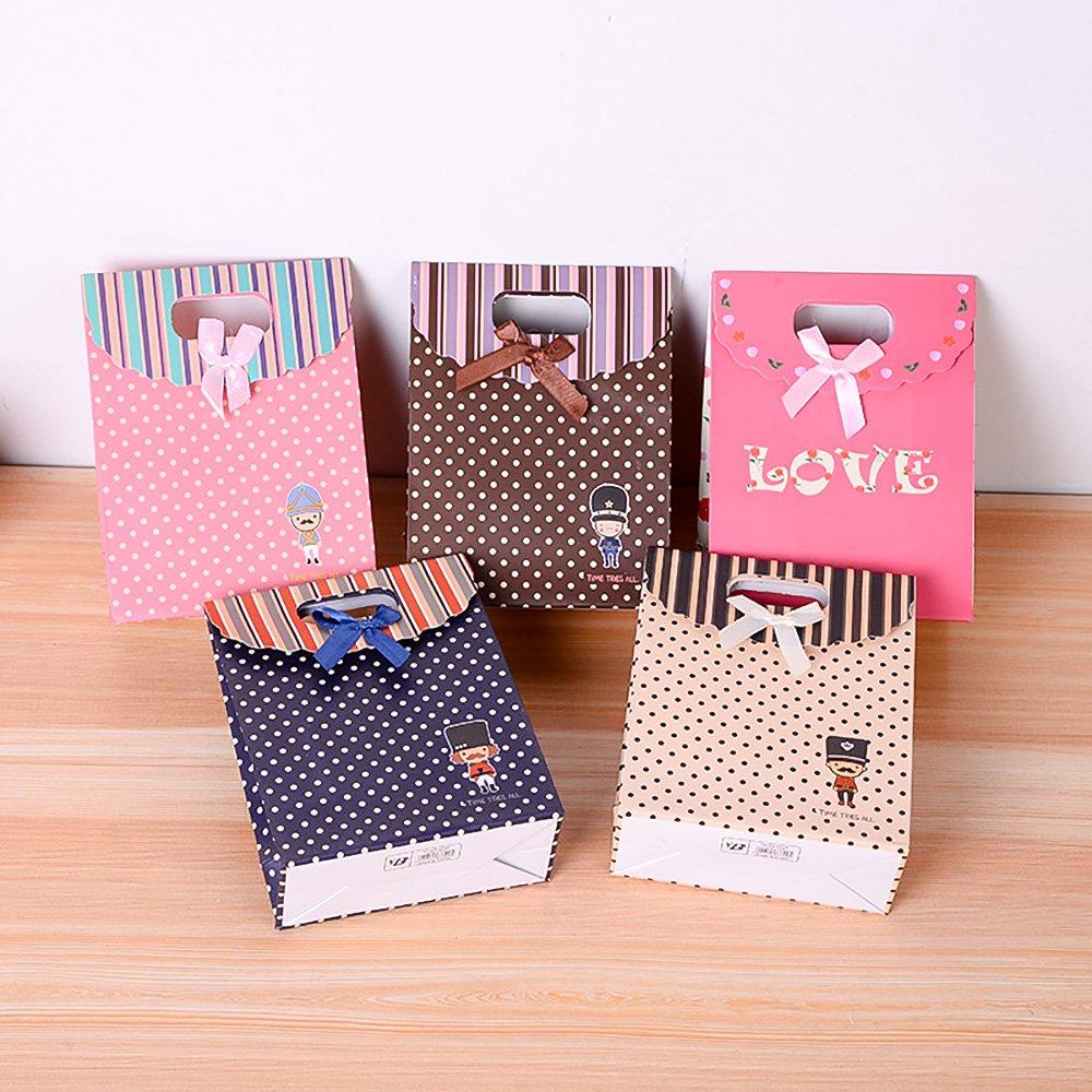 Bolsa de regalo de papel con diseño de cinta de caricatura para soldar, 12 unidades, con asa, 19 x 9 x 26 cm: Amazon.es: Hogar