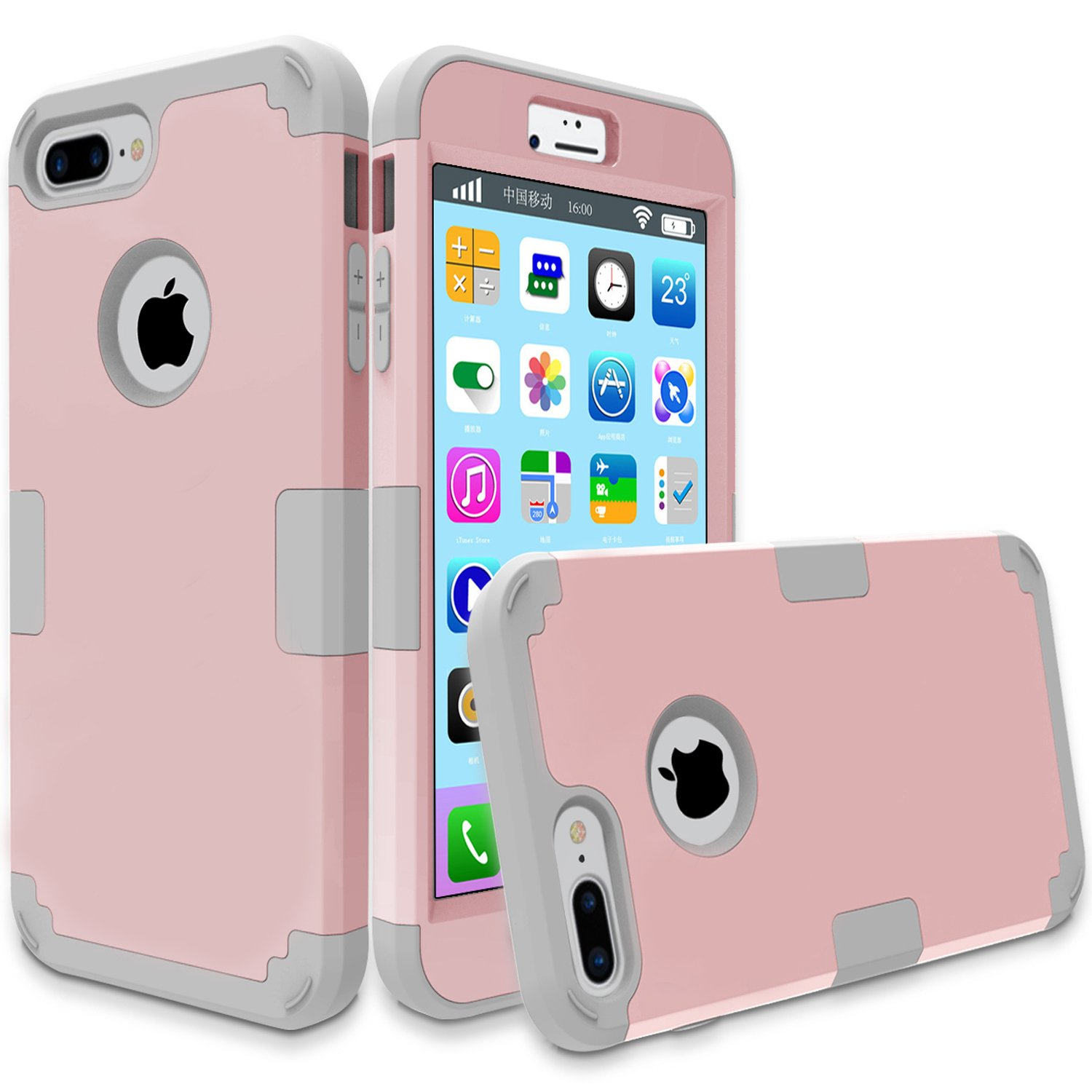 iPhone 7 Plus 3 in1 Cases B01MSZQFOF A-Rose gold-Grey A-Rose gold-Grey