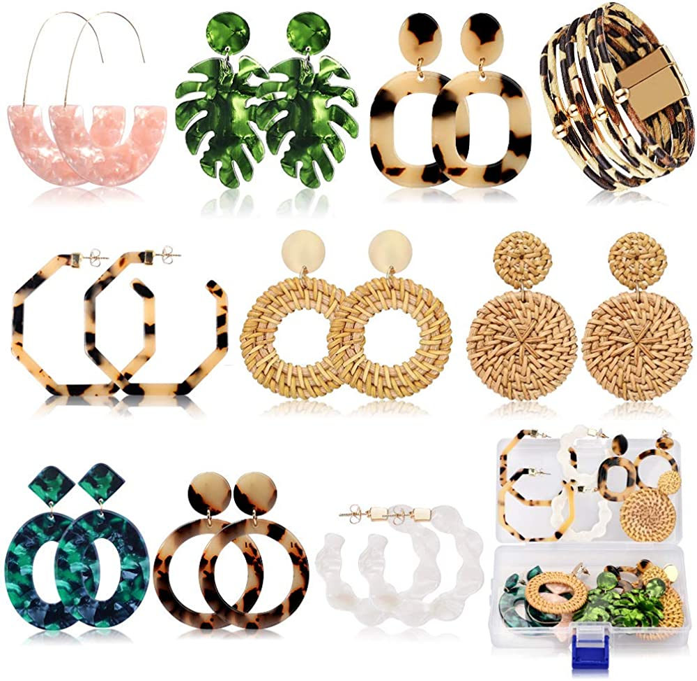 AMBESTEE Acrylic Earrings,Statement Earrings,Bohemian Earrings,9 Pairs Resin Earrings Hoops Drop Dangle Polygonal Bohemian Boho Tassel Earrings for Women Girls