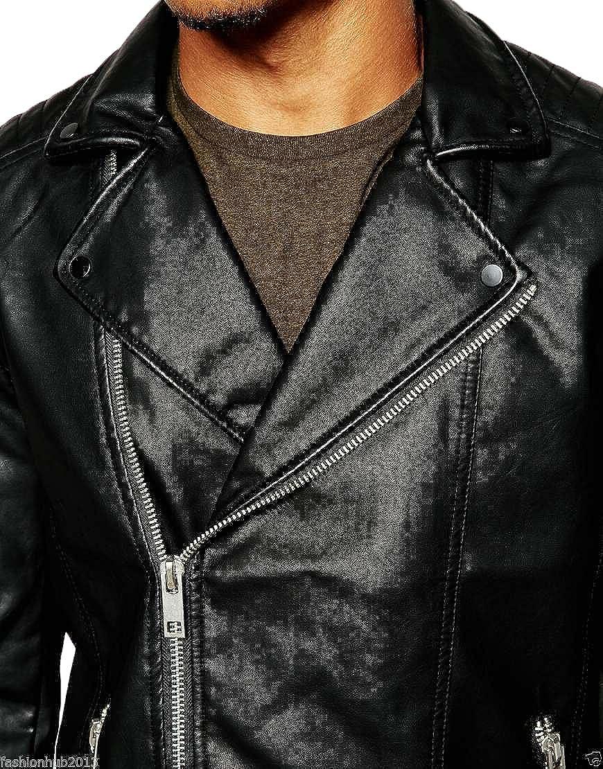 New Genuine Lambskin Leather Designer Jacket Motorcycle Biker Mens S M L XL T972
