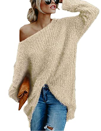 Damen Pullover Casual Lose Solid Schulterfrei Flügelhülse Sweatshirt Lange  Ärmel Oversize Oberteile Tops Tunika  Amazon.de  Bekleidung 919a621b80