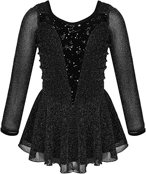 YiZYiF Girls Kids Finger-point Sleeves Ballet Costume Princess Floral Lace Dance Figure Skating Dress Outfits