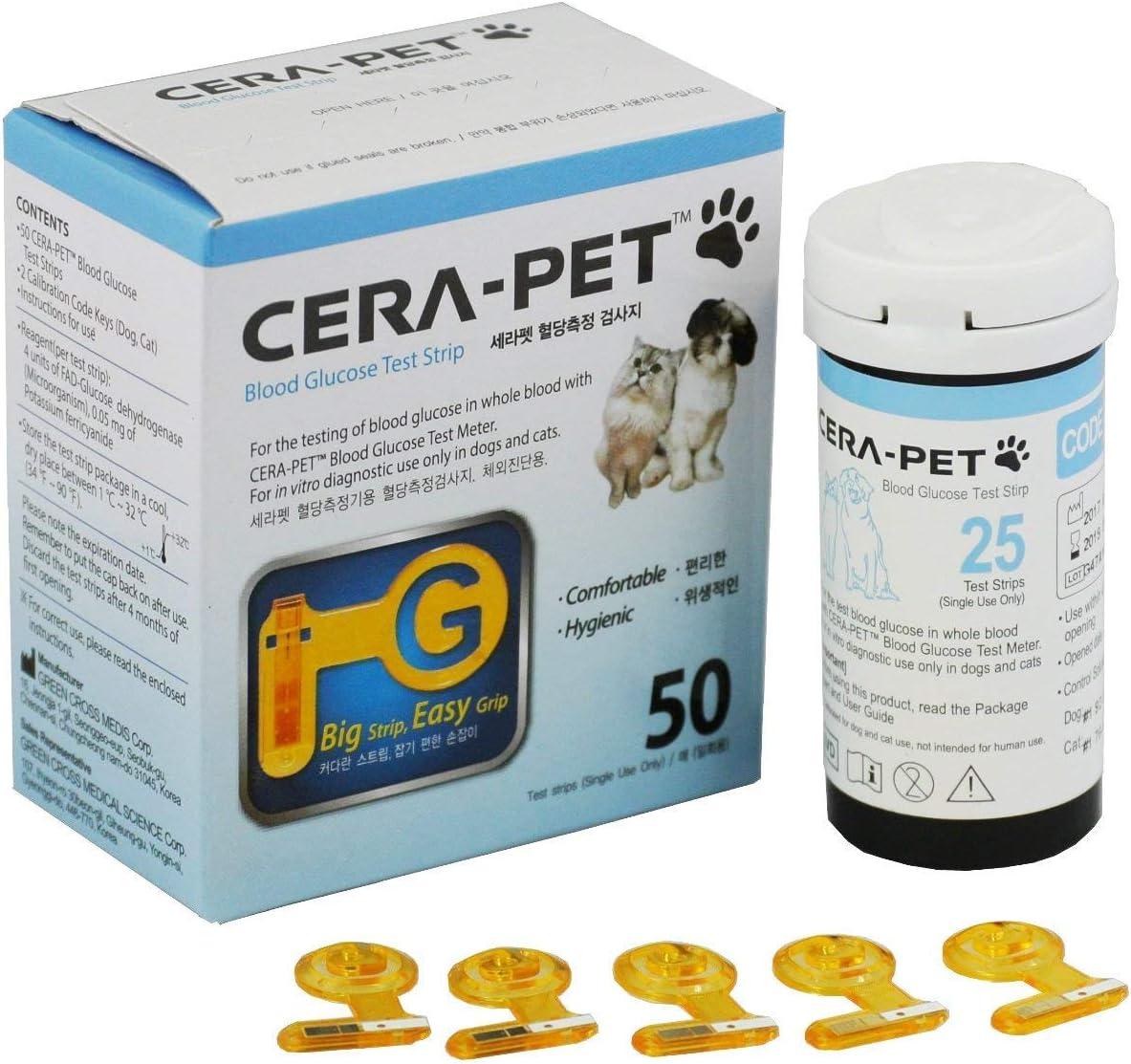 50 x Tiras Reactivas de Prueba para el Medidor de Glucosa en Sangre Veterinario Cerapet, especialmente calibrado para su uso en perros y gatos: Amazon.es: Salud y cuidado personal