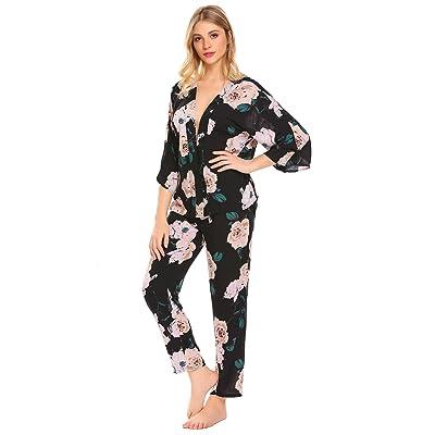 Acecor Women Lightweight Sleepwear V-Neck 3/4 Sleeve Floral Print Patchwork Pajama Set(S-XL)