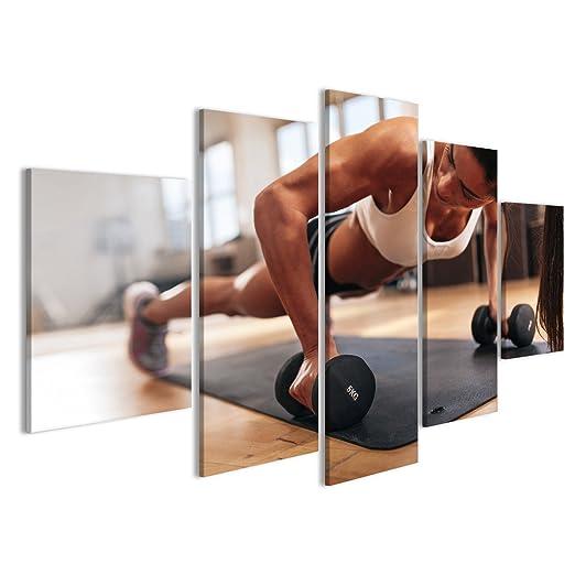 Quadro moderno mujer de gimnasia Che Fa prácticas de push-up con mancuernas. Mujer Forte que puedas la formación Crossfi: Amazon.es: Hogar