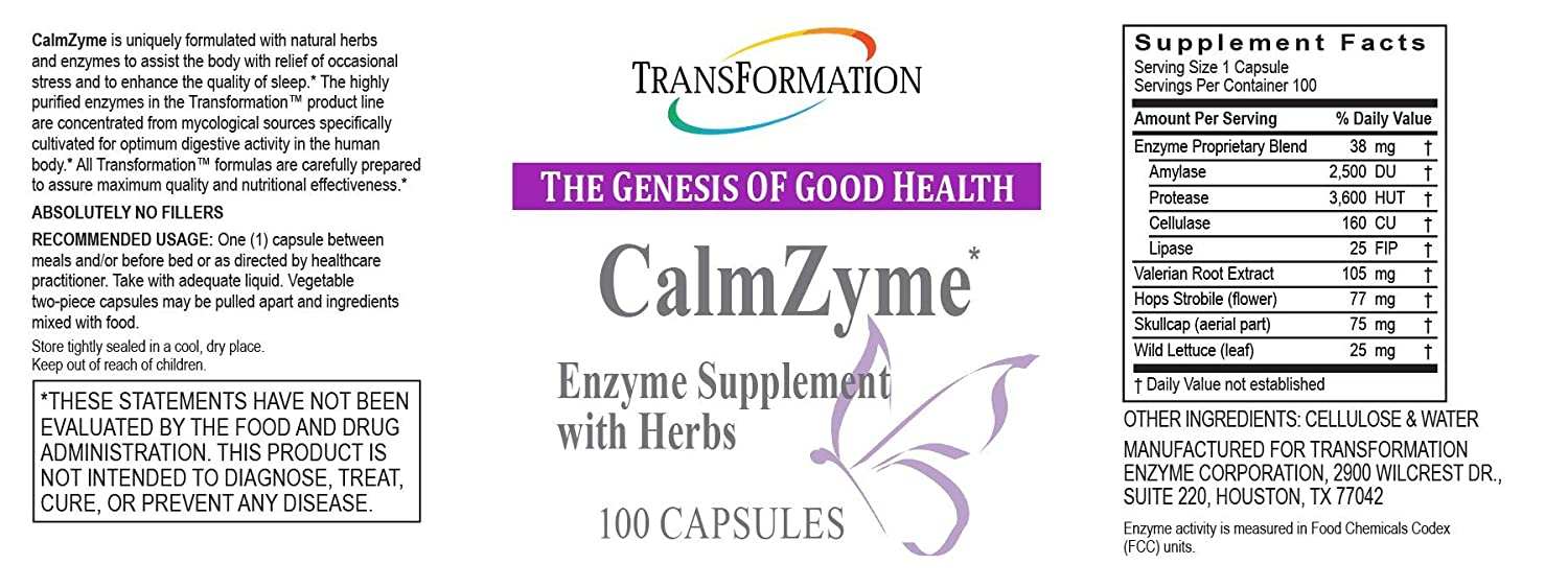 Amazon.com: Transformación enzimas – calmzyme – 100 Cápsulas ...