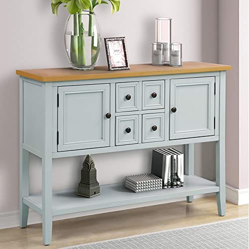 Console Table Sofa Table Buffet Table Sideboard with Four Storage Drawers Two Cabinets and Bottom Shelf Lime White