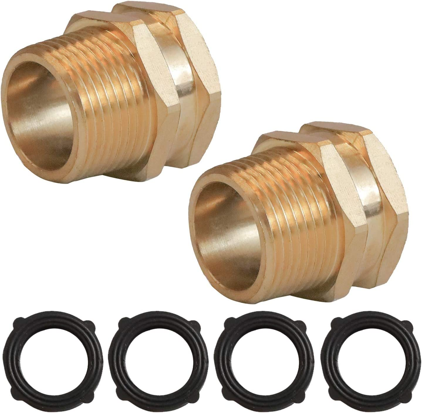 """Xiny Tool 3/4"""" GHT Female X 3/4"""" NPT Male Connector, GHT to NPT Garden Hose Adapter Brass Fitting, 2 Pack"""