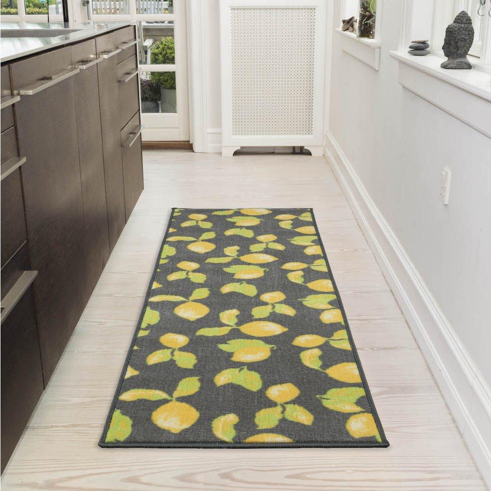 20 X 59 Area Rug Kitchen and Bathroom 20X59, Ottomanson Collection Contemporary Lemons Design Runner Non-Slip Black