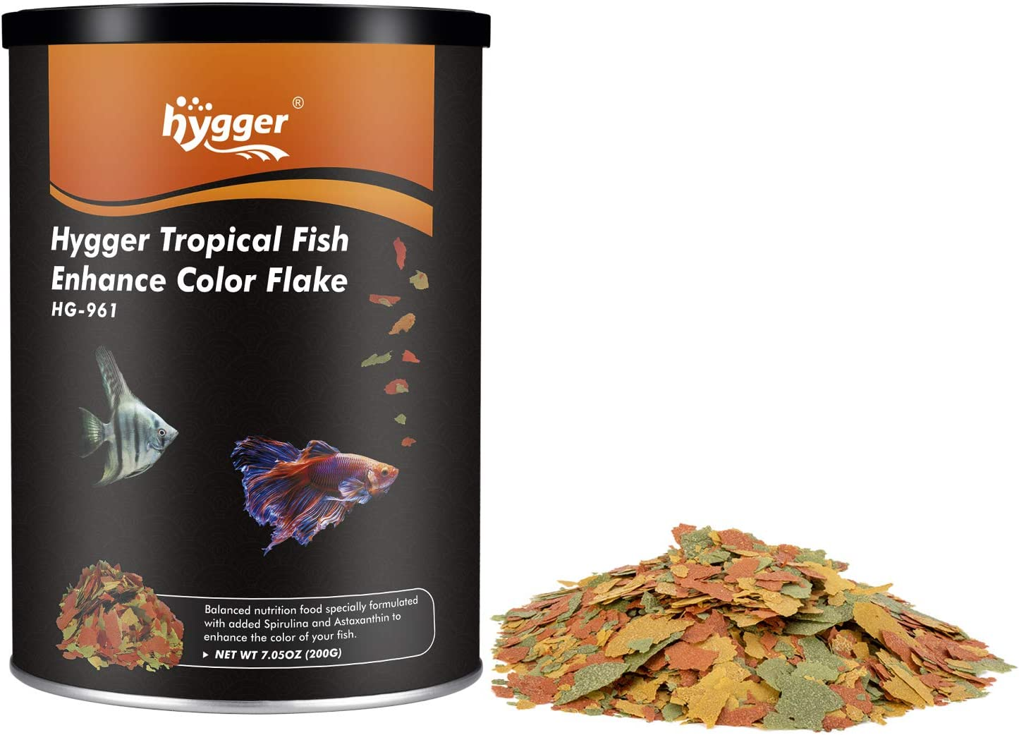 hygger Color Enhancing Tropical Fish Flake Food for Betta Guppy Barb Goldfish High Protein Vitamin-Enriched Support for Immune System Clear Water, 7-oz Jar