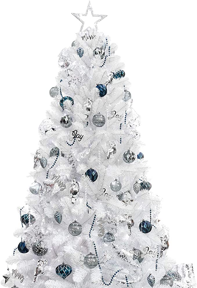 amazon com ki store 6ft artificial white christmas tree with ornaments and lights blue christmas decorations including 6 feet full christmas tree 105pcs ornaments 2pcs 39ft usb mini led string lights home ki store 6ft artificial white christmas tree with ornaments and lights blue christmas decorations including 6 feet full christmas tree 105pcs