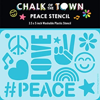 product image for Chalk of the Town Peace & Love Themed Plastic Stencil for Kids
