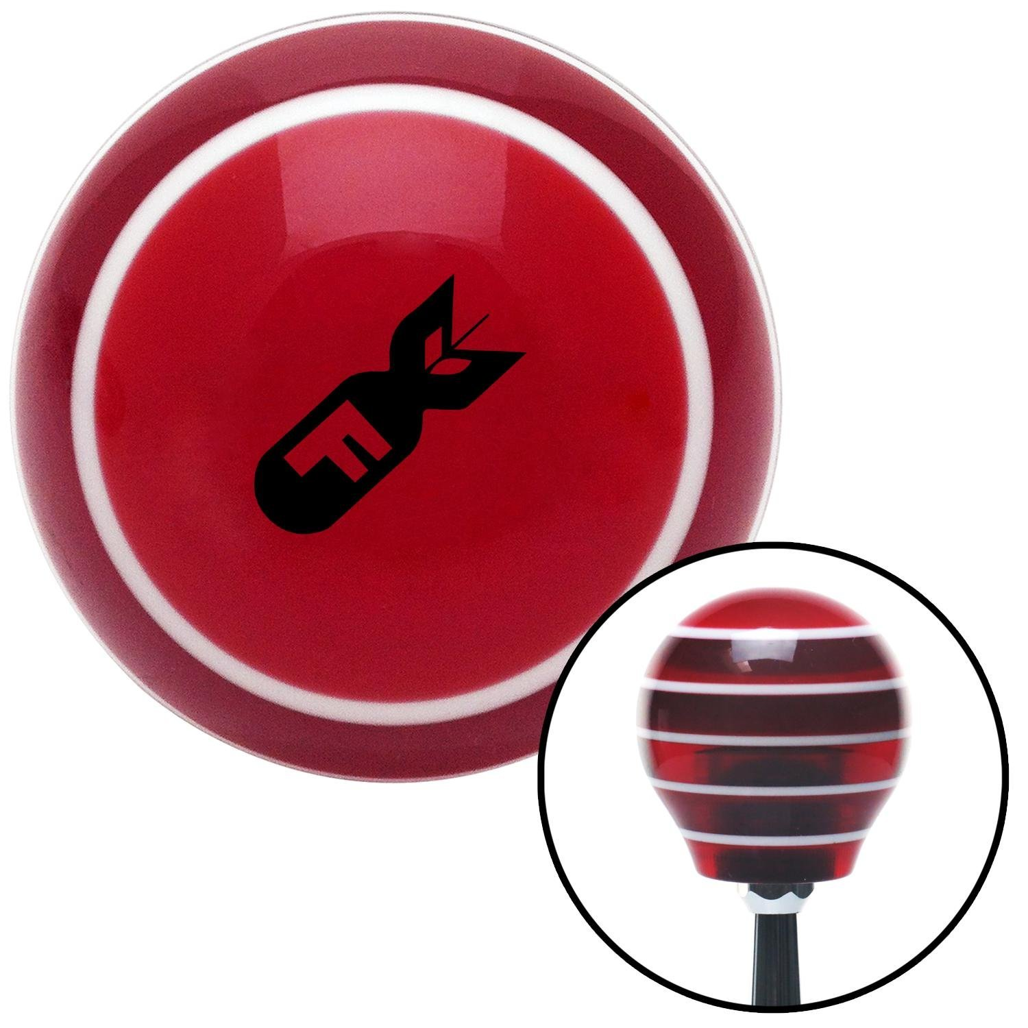 Black F Bomb Red Stripe with M16 x 1.5 Insert American Shifter 305329 Shift Knob