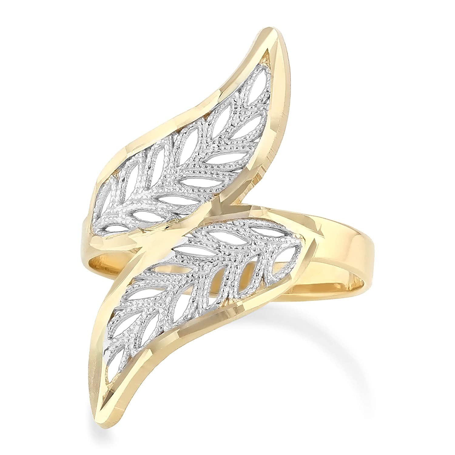 14K Two Tone Solid Gold Fancy Leaves Ring Ioka