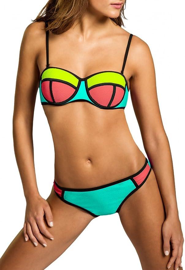 Bikini neón barato push up bandeau para mujer