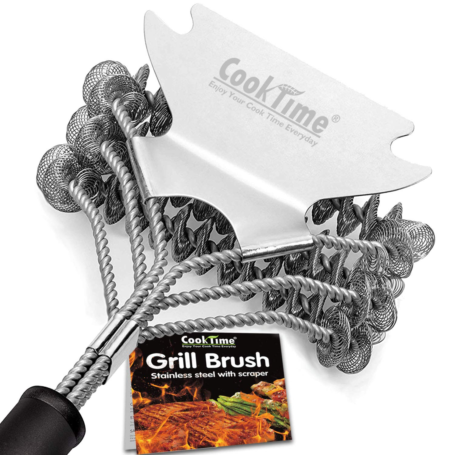 Cook Time Safe Grill Brush - Bristle Free BBQ Grill Cleaner/Scraper - 18'' Stainless Steel Grill Cleaning Scrubber,Great BBQ Accessories for Clean All Grill Grates by Cook Time (Image #1)
