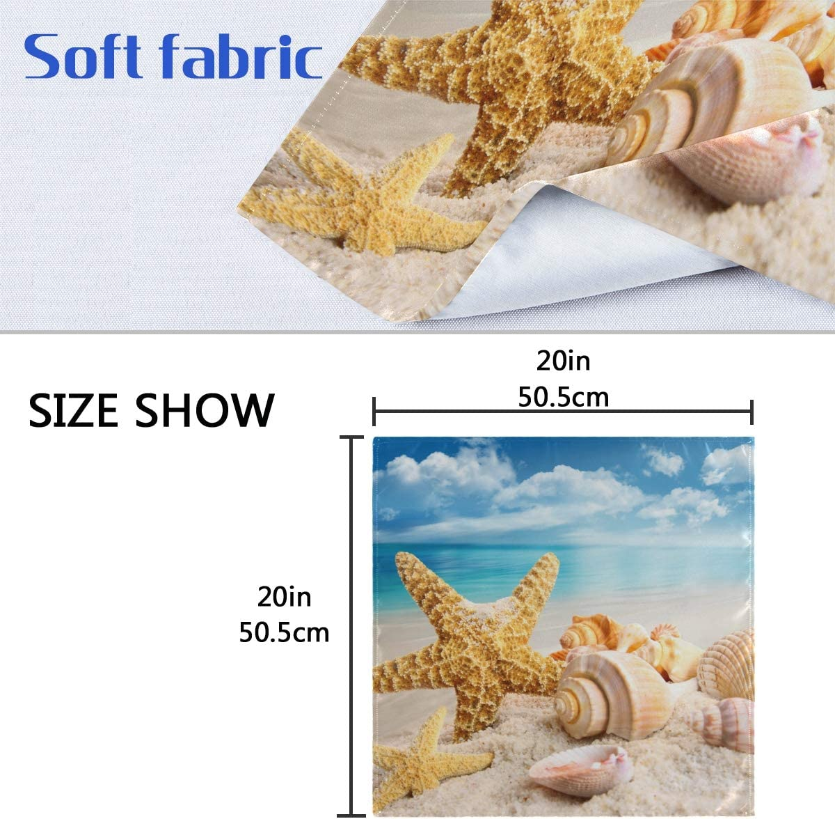 HNTGHX Set of 1 Cloth Napkin Summer Starfish Conch 20x20 inch Washable Polyester Table Dinner Napkins for Kitchen Wedding