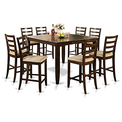 East West Furniture FAIR9-CAP-C 9-Piece Counter Height Dining Table Set