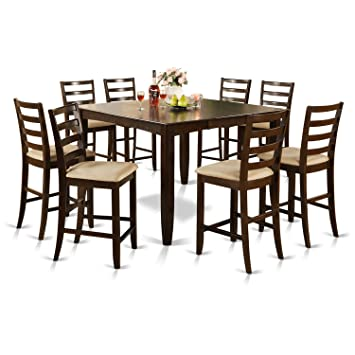 FAIR9-CAP-C 9 PC counter height set- Square Table and 8 Kitchen counter  Chairs