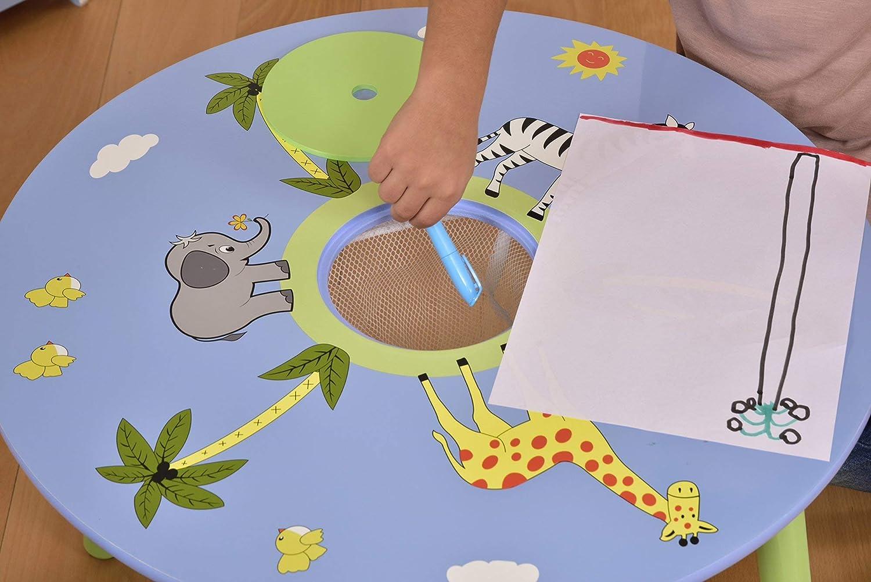 Liberty House Toys Safari Tisch und Zwei Hocker Set, Holz, Mehrfarbig