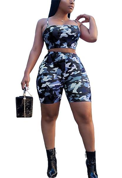 14baa4458 Amazon.com  Antique Style Women Sexy 2pcs Outfits Camouflage Strap Crop Top  + Shorts Pants Boho Maxi Dress  Clothing