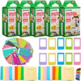 Fujifilm Instax Mini Instant Film Giant Bundle(5 Twin Packs, 100 Total Pictures) + 120 Sticker Frames, 10 Plastic Desk Frame, 20 Hanging Clips with String, Micro-fiber Cleaning Cloth