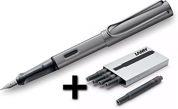 Lamy AL-Star Fountain Pen (26F) Graphite + 5 Black Ink Cartridges