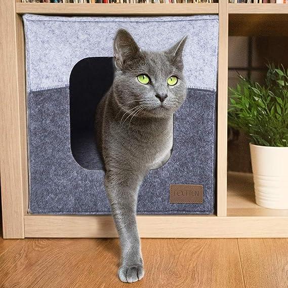 FEXTTEN Cueva para gatos de fieltro grueso para estante IKEA – Fácil de viajar cubeta para gatos es lavable a máquina – Casas plegables para gatos ...