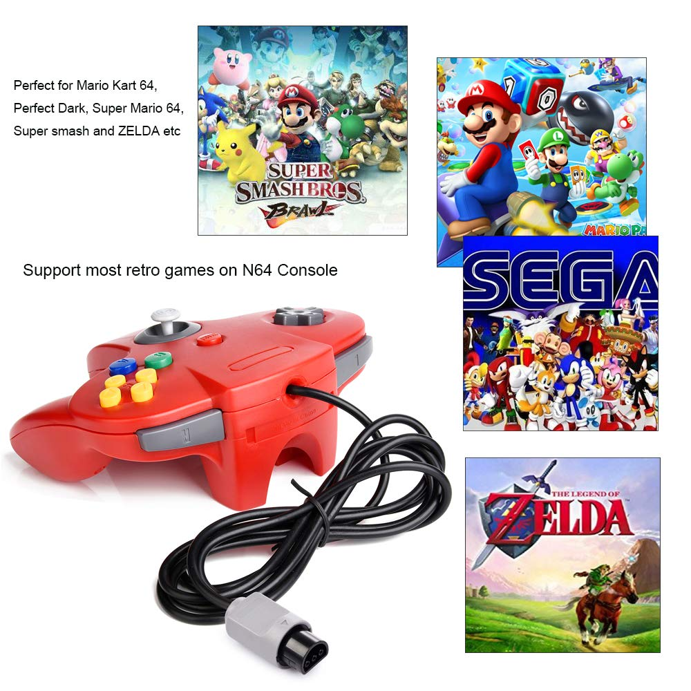 2xClassic N64 Controller,kiwitata Retro Wired Gamepad Controller Joystick for N64 Console Video Games System Red+Blue by kiwitata (Image #2)