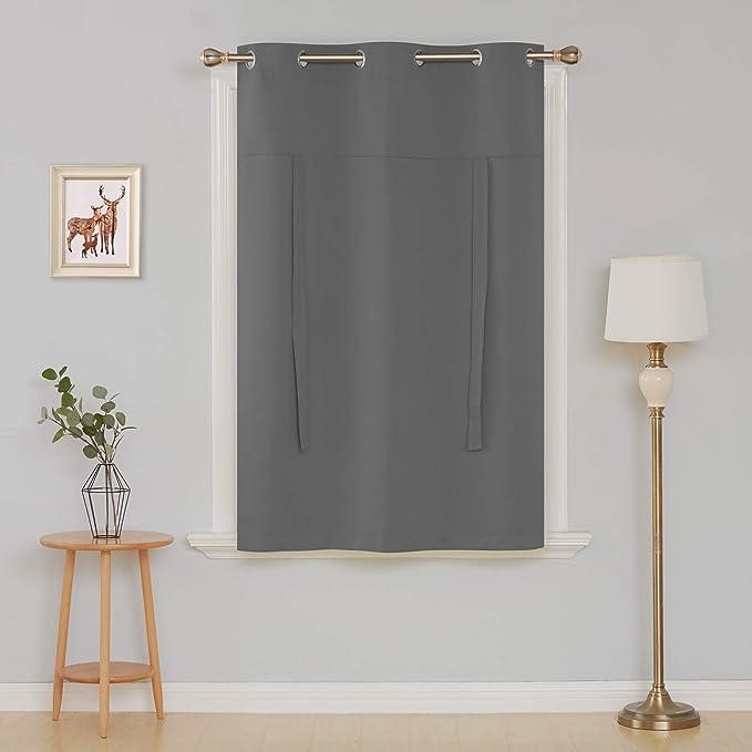 Cortina opaca Deconovo para usar con barra, para ventana. Panel de 117 cm: Amazon.es: Hogar