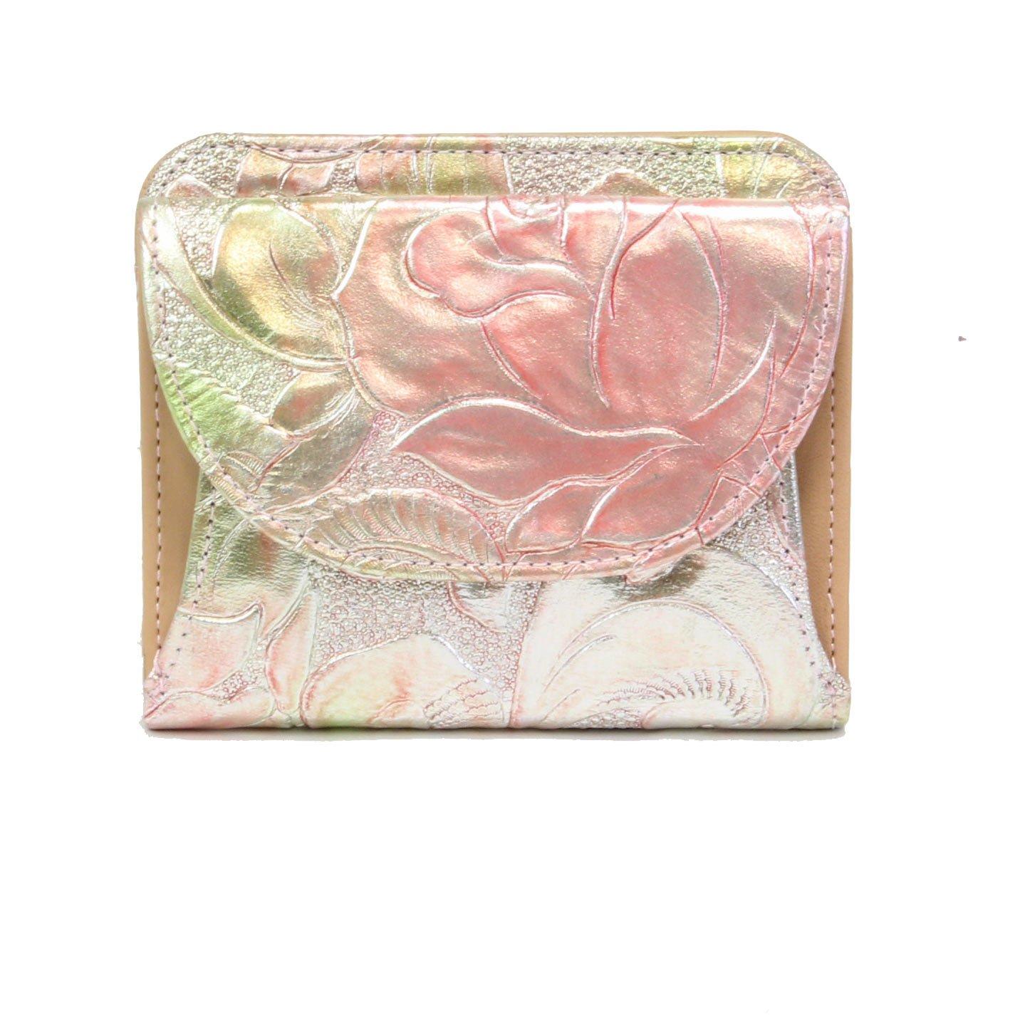 [アルカン] Arukan 財布 レディース 二つ折り フローラ 革 ローズ柄型押し 1389304 B00E9QUJM0  ピンク(31)