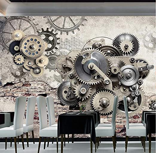 Modern Creative Retro Mechanical Gear Vintage Backdrop Wall