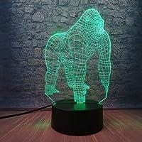 3D Night Light Active Animal Orangutan Gorilla Chimpanzee 3D USB LED Lamp Optical 7 Colors Changing Mood Illusion Table…