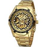 SweetBless出品 腕時計 機械式 メンズ 自動巻き アンティーク風カジュアル ゴールド