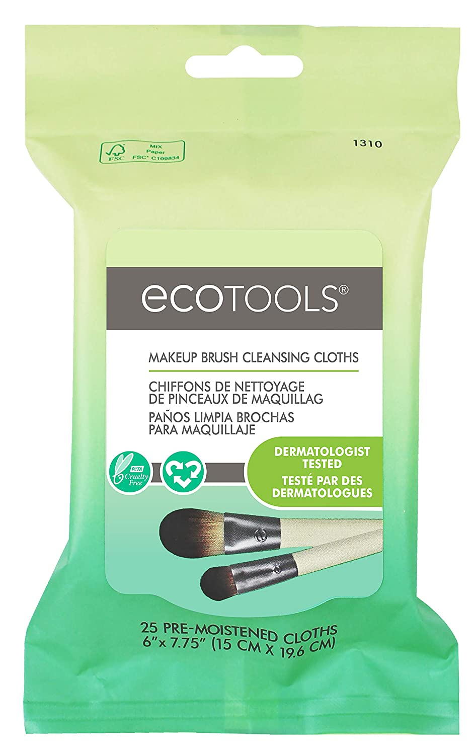 Ecotools Cruelty Free and Eco Friendly Makeup Brush Cleansing Cloths, 0.46 Ounce; Wash Away Surface Makeup, Oil, and Impurities from Brushes Improving Brush Performance Paris Presents Incorporated 1310