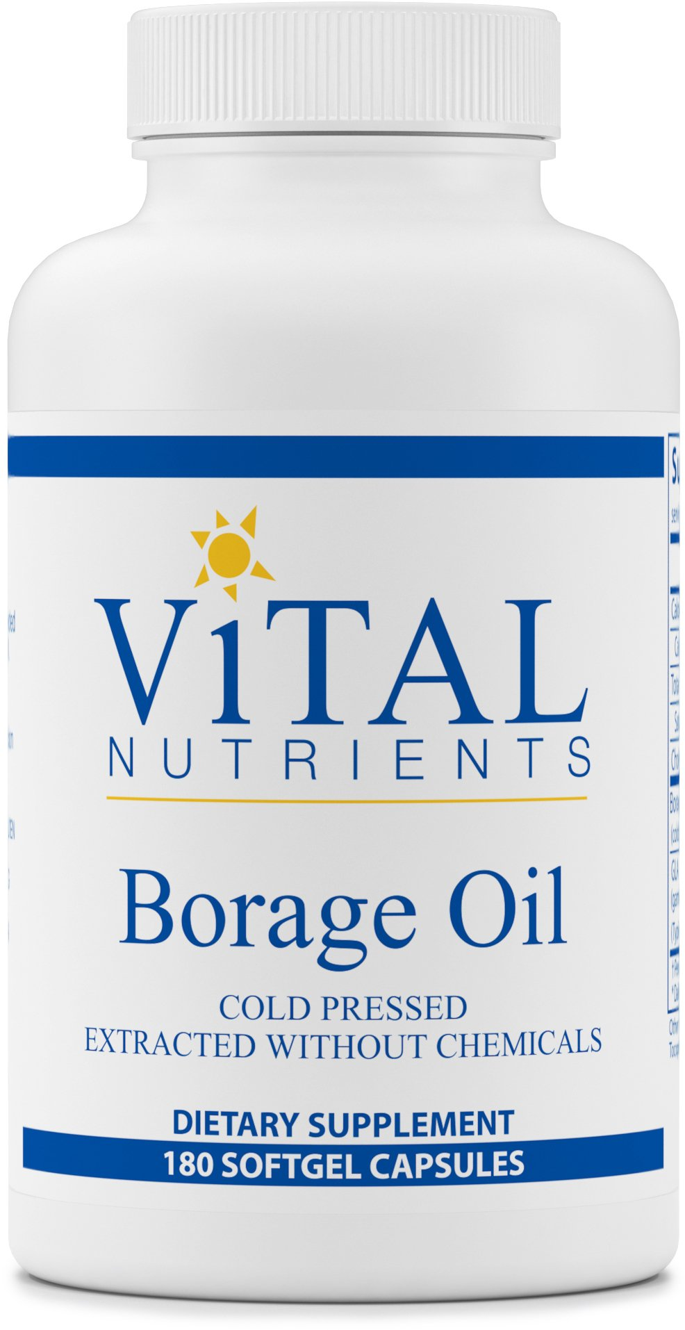 Vital Nutrients - Borage Oil - Cold Pressed Extracted Without Chemicals - Provides High Dose of GLA, an Essential Omega 6 Fatty Acid - 180 Softgel Capsules