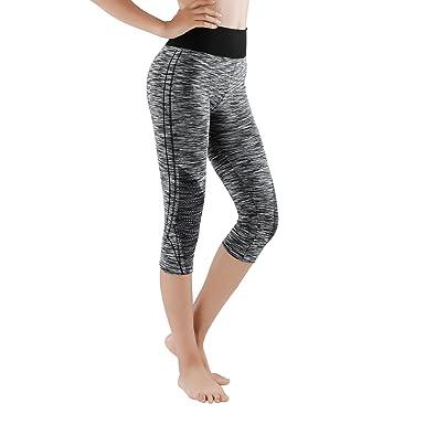 nouvelle arrivee 501c3 89aea GoVIA 3/4 et 7/8 Legging pour Femme Pantalon de Course à Pied Pantalon de  Sport Respirant Pantalon de Yoga Fitness Taille Haute Long Rayures 4103