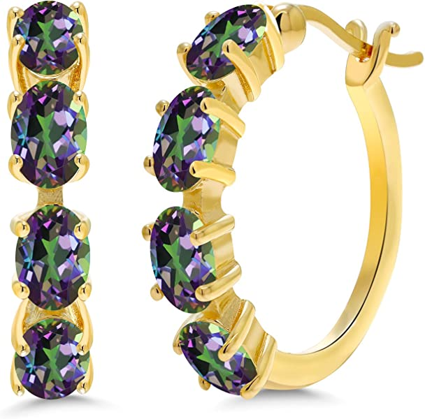 8f56beeee Gem Stone King 4.00 Ct Oval Green Mystic Topaz 18K Yellow Gold Plated  Silver Hoop Earrings