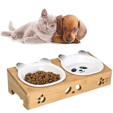 Liboom Cuencos Doble para Mascotas Lindo Perros Comedero de Ceramic para Gato Elevated Comedero Elevado con