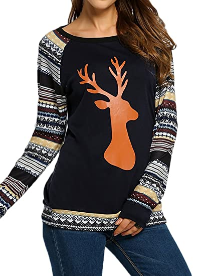 qearal women christmas tops striped long sleeve elk print shirts