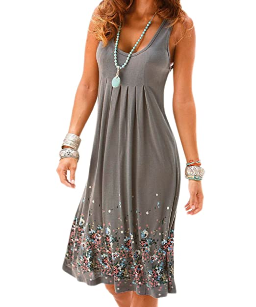 fb0ec87aaf91 AELSON Womens Summer Casual Sleeveless Mini Printed Vest  Dresses,Gray,X-Large