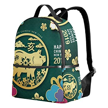 a53f962870 Amazon.com  Happy Chinese New Year 2019 Of The Pig Unisex Canvas School  College Student Backpack Laptop Bags Rucksack Casual Daypack  fashion styles