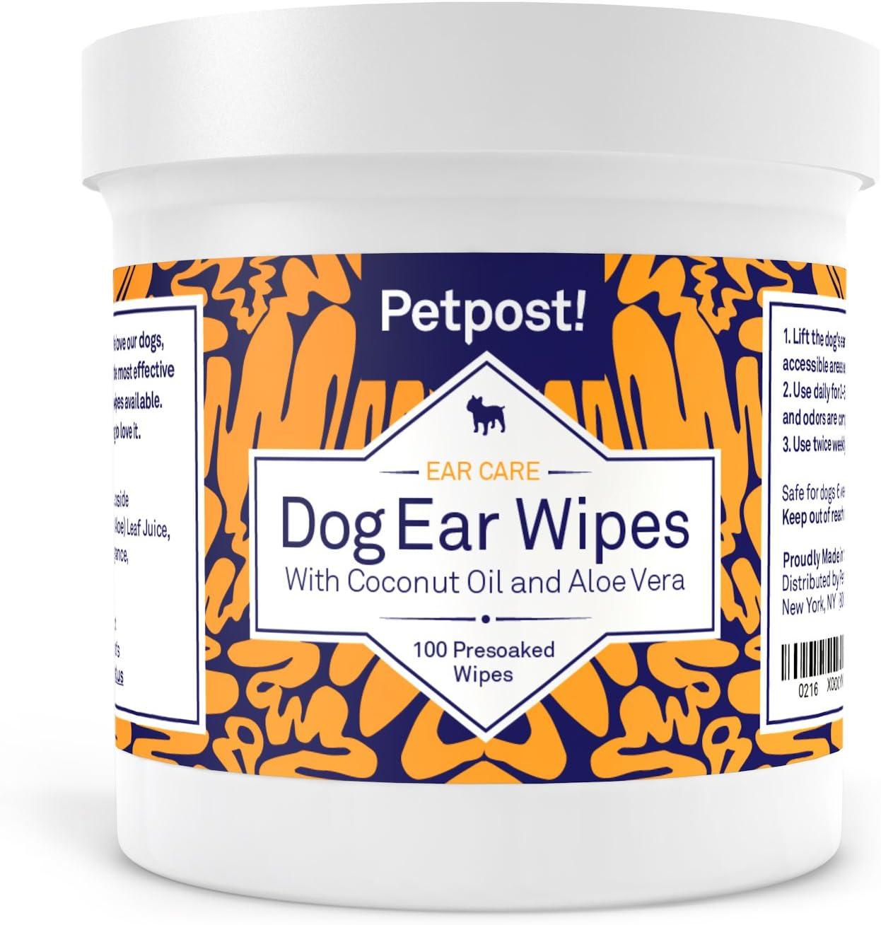 Petpost | Toallitas Limpiadoras de Oídos para Perros – 100 Almohadillas de Algodón Ultra Suave en Solución de Aceite de Coco – El Mejor Remedio para Garrapatas de Oído de Perro e Infecciones Auditivas
