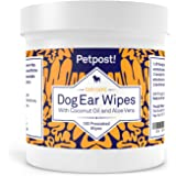 Petpost | Dog Ear Cleaner Wipes - 100 Ultra Soft Cotton Pads in Coconut Oil Aloe Solution - Dog Ear Rinse & Cleanser