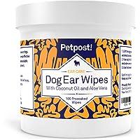 Petpost Toallitas Limpiadoras de Oídos para Perros – 100 Almohadillas de Algodón Ultra Suave en Solución