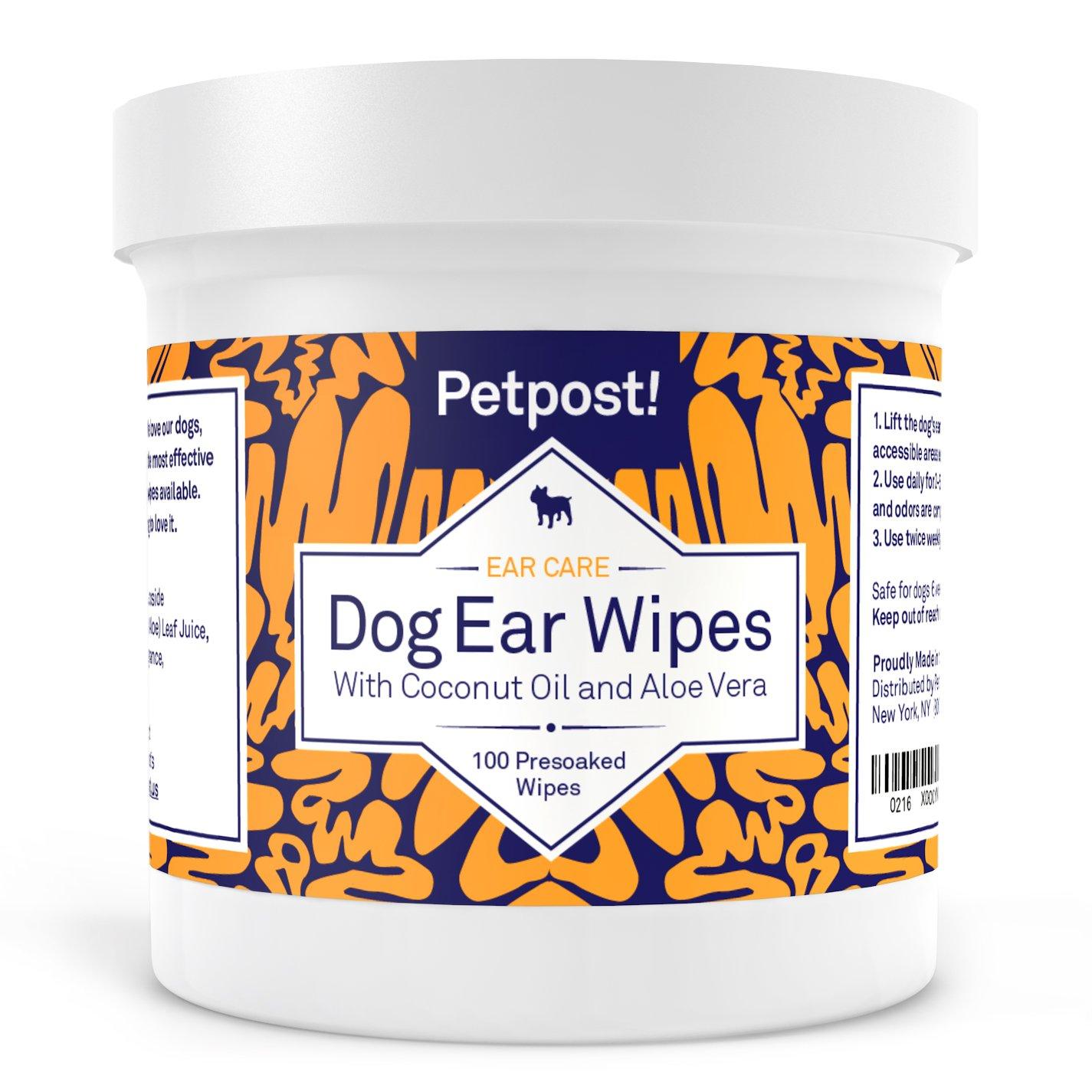 Petpost Ohrenreiniger für Hunde - 100 Ultra-Weiche Wattetücher getränkt in Kokosnussöl/Aloe Lösung - Pflege bei Ohrmilben & Ohrinfektionen