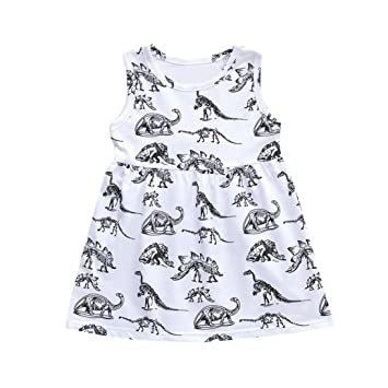 Vestido de verano con estampado de dinosaurio para bebés de 6 meses a 4 años de