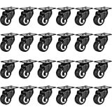 """Online Best Service 24 Pack Swivel 1.5"""" Caster Wheels Rubber Base with Top Plate & Bearing Heavy Duty (24 Pack Without Brake)"""